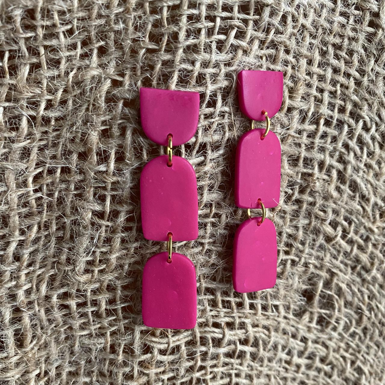 Kyle | Fuchsia Polymer Clay Drop Earrings | Beautiful Fuchsia Polymer Clay Statement Earrings | Dangle Studs | Clay Earrings | Black Owned | Handmade Earrings