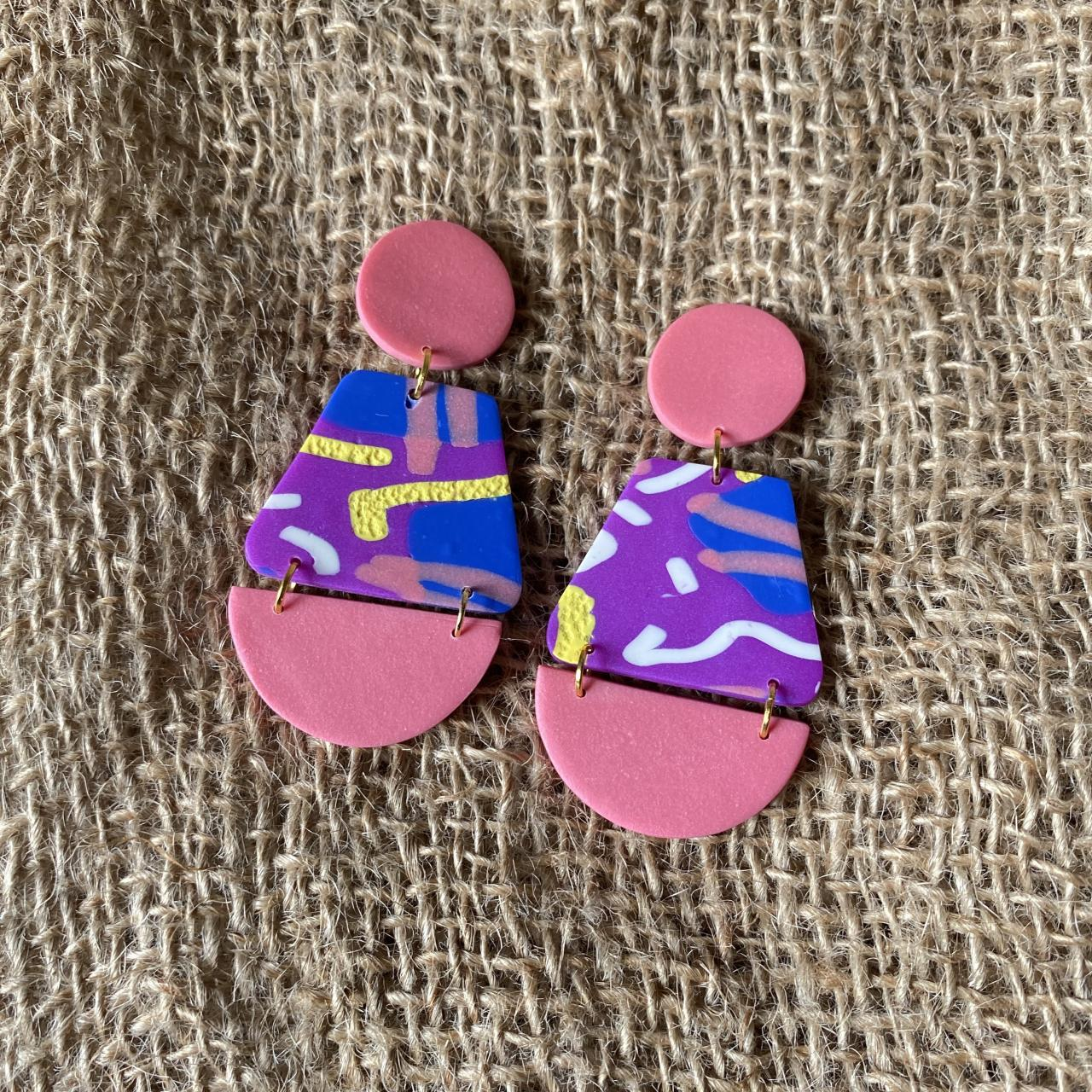 Annie | Lark Collection | Beautiful Unique Handmade Polymer Clay Drop Earrings | Contemporary Polymer Clay Dangle Earrings | Black Owned