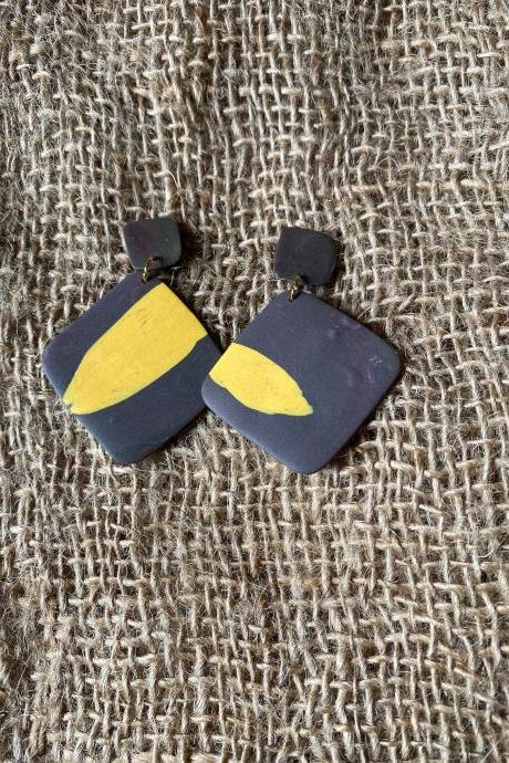 Ava | Bae's Creations | Black and Yellow Polymer Clay Drop Earrings | Simple Minimalist Polymer Clay Earrings | Black Owned