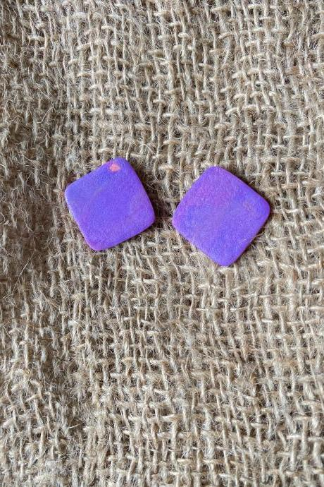 Square Up Polymer Clay Earrings | Unique Polymer Clay Earrings Studs | Medium | Lark Collection | Handmade Clay Earrings | Black Owned