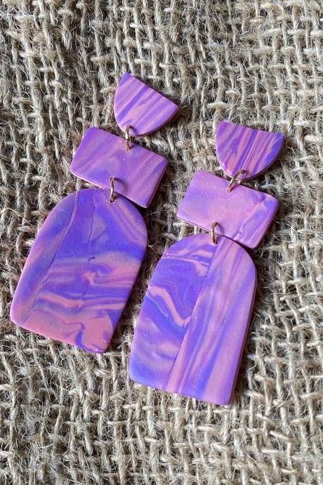 Opal | Purple Skies Collection Polymer Clay Earrings | Unique Purple Pink Polymer Clay Drop Earrings | Handmade Statement Clay Earrings | Black Owned