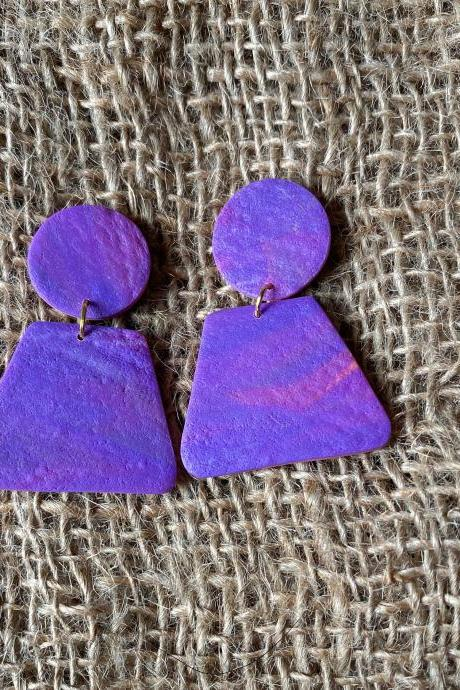 Amy | Purple Skies Collection | Unique Purple Polymer Clay Drop Earrings | Beautiful Polymer Clay Statement Earrings | Black Owned