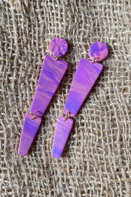 Ashton | Purple Skies Collection | Purple Polymer Clay Statement Earrings | Handmade Polymer Clay Dangle Drop Earrings | Contemporary Polymer Clay Earrings