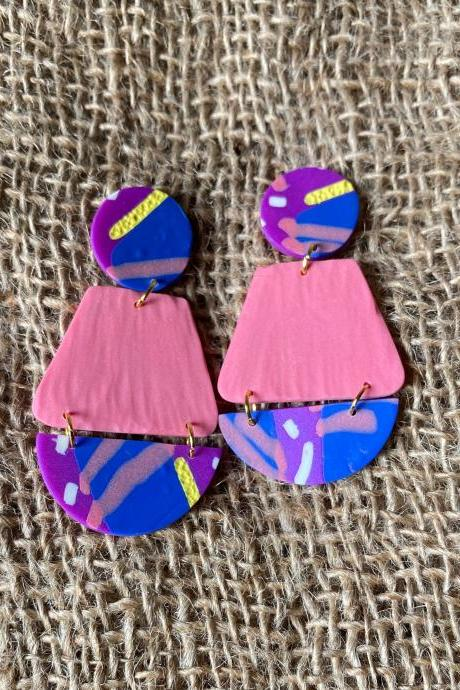 Annie | Textured | Lark Collection | Unique Polymer Clay Statement Earrings | Beautiful Handmade Polymer Clay Drop Earrings | Black Owned