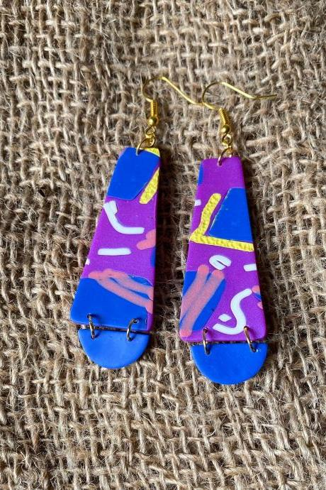 Elle | Lark Collection | Unique Handmade Polymer Clay Dangle Earrings | Beautiful Contemporary Polymer Clay Statement Earrings | Black Owned