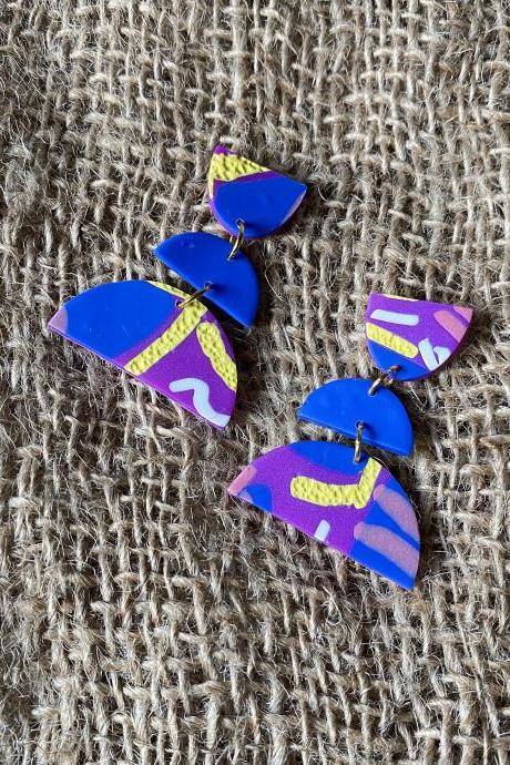Kal | Lark Collection | Unique Polymer Clay Drop Earrings | Handmade Polymer Clay Statement Earrings | Black Owned
