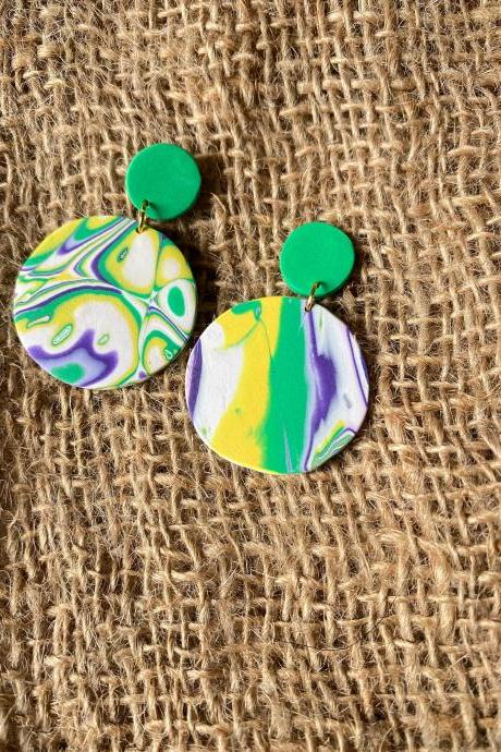 Jenn | Amoeba Collection | Contemporary Polymer Clay Drop Earrings | Lightweight Polymer Clay Statement Earrings | Polymer Clay Earrings Studs | Black Owned