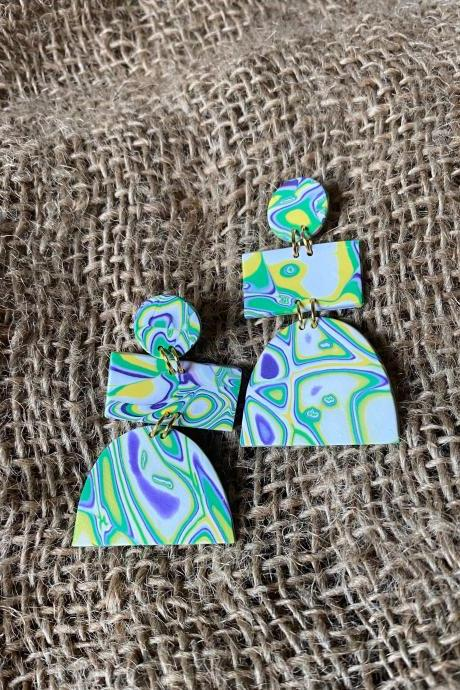 Unique Polymer Clay Statement Earrings | Stephanie | Amoeba Collection | Multi-color Polymer Clay Drop Earrings | Lightweight Polymer Clay Dangle Earrings | Handmade Clay Earrings | Black Owned