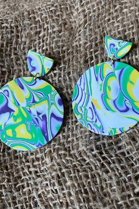 Toni | Amoeba Collection | Multi-color Round Polymer Clay Drop Earrings | Handmade Polymer Clay Statement Earrings | Unique Clay Earrings | Gift | Black Owned