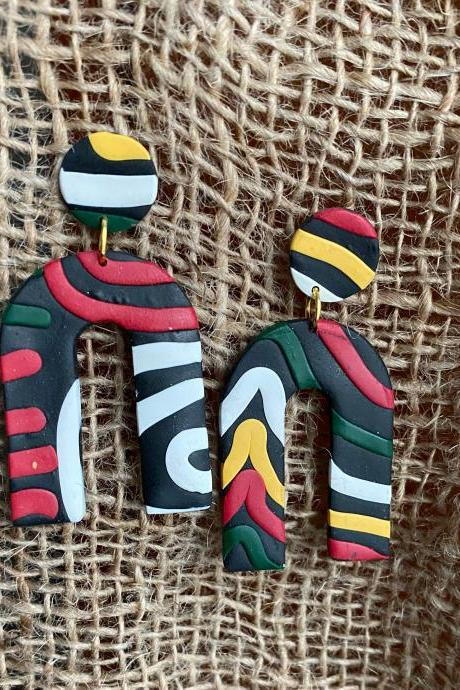 Polymer Clay Statement Earrings | The N Polymer Clay Dangle Earrings | Black Red Forest Green Polymer Clay Earrings | Golden Life Yellow| White | Handmade Polymer Clay Drop Earrings | Contemporary Clay Earrings | Black Owned