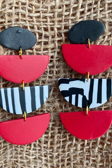 Polymer Clay Statement Earrings | Sailor Red Black White Stripes Polymer Clay Dangle Earrings | Unique Handmade Clay Earrings | Chic Customs | Black Owned