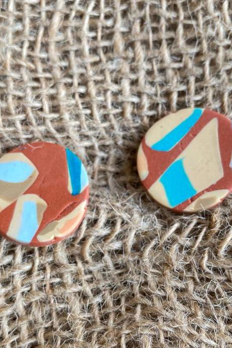 Polymer Clay Earrings Studs | Large Designed Studs | Terrazzo | Cinnamon Polymer Clay Earrings | Teal | Nude | Gold | Brown | Light Weight Polymer Clay Statement Earrings | Handmade | Clay Earrings | Handmade