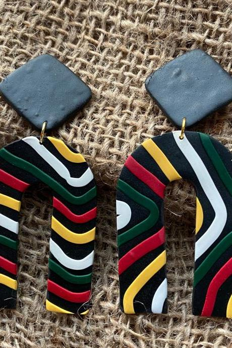 Aurelia Polymer Clay Earrings | Black, Red, Forest Green, White, Golden Life Yellow Polymer Clay Dangle Earrings | Colorful Statement Earrings | Chic Customs | Black Owned | Clay Earrings