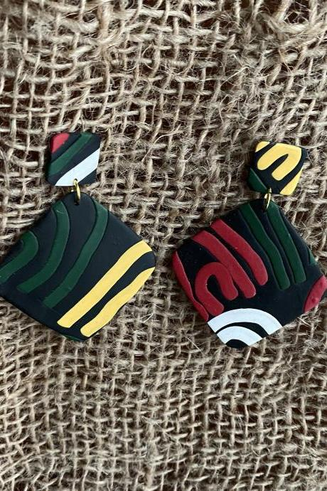 Polymer Clay Drop Earrings | Ava Polymer Clay Statement Earrings | Black | Red | Forest Green | Golden Life Yellow | White | Handmade Polymer Clay Dangle Earrings | Clay Earrings | Black Owned