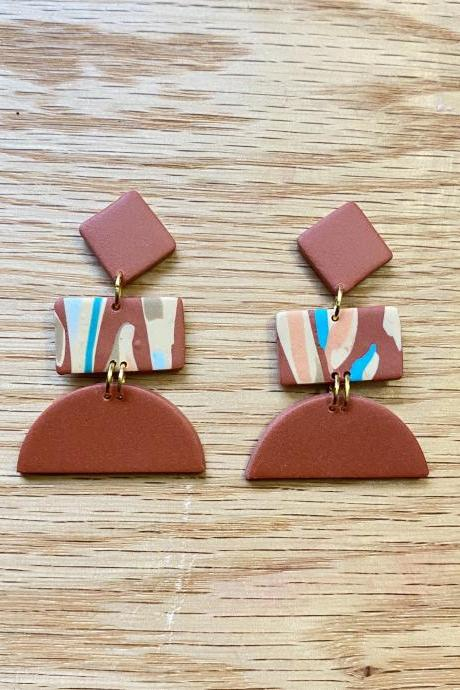 Polymer Clay Statement Earrings | Aida Polymer Clay Drop Earrings | Terrazzo | Cinnamon Polymer Clay Dangle Earrings | Teal | Nude | Gold | Brown | Light Weight Polymer Clay Earrings | Handmade | Clay Earrings | Handmade