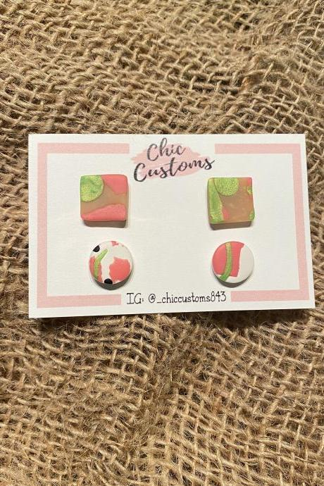 Polymer Clay Earrings Studs | MIni Studs Duo | Square | Circle | Pink | White | Black | Tan | Polymer Clay Statement Earrings | Handmade Polymer Clay Earrings | Black Owned | Chic Customs