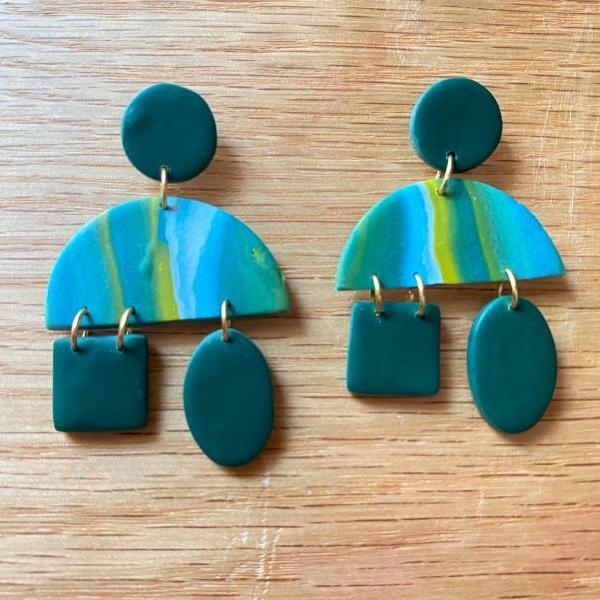 Syd Polymer Clay Statement Earrings | Marble Design Polymer Clay Dangle Earrings | Teal | Green | Yellow | White | Polymer Clay Drop Earrings | Clay Earrings | Handmade | Black Owned | Chic Customs